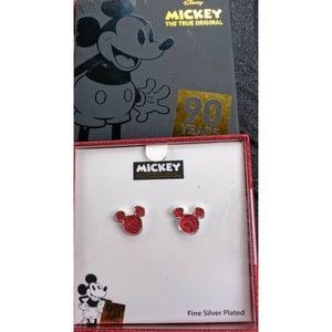MICKEY MOUSE Fine Silver Plated Earrings 90 Years